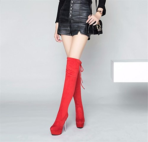 winter Our and fine of gules boots high Lady with knee long autumn canister heeled high IqwrIt