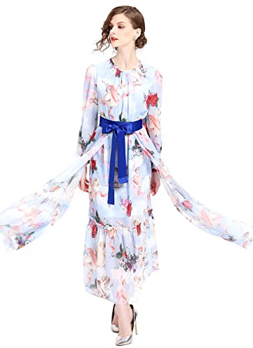 Style CATS FIVE Party Neck Women's LAI Maxi line Floral MENG Boho Round Dress 18 Print Casual A gZ77xw