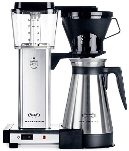 Technivorm Moccamaster 10-Cup 40oz Coffee Brewer Handmade Coffee Maker – KBT741 – Polished Silver