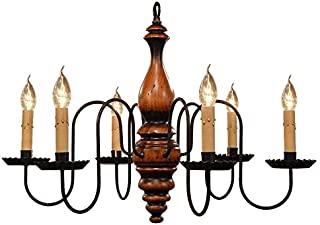 "product image for Anderson House Wooden Chandelier - Pumpkin Spice - 6 Arm, 24"" - Handcrafted in USA"