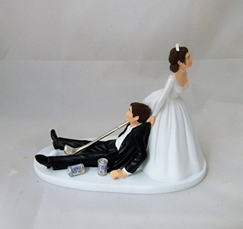 Wedding Reception Beer Cans Golf Golfer Clubs Dark Hair Cake Topper