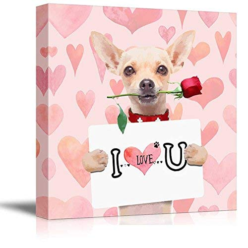 (Oil Painting Square Dog Series Canvas Wall Art, Chihuahua Dog Holding a I LOVE U Board with a Rose in the Mouth, Giclee Print Gallery Wrap Modern Ready to Hang for Home Office Hall Decor 28x28inch)