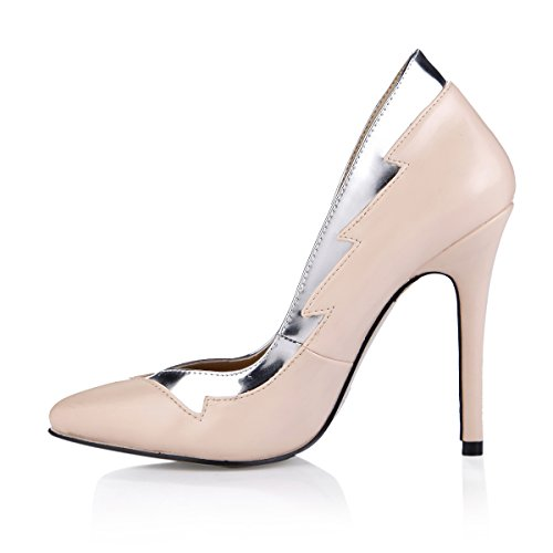 Dolphin Women's Fashion Nude Slim Fit Stiletto 12CM High Heel Pump Shoes SM00036 Nude+Silver BWg1b