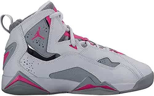 db28e0f114a6b8 Nike 342774-018   Jordan Kid True Flight GG Wolf Grey Pink Basketball Shoe (