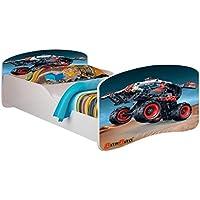 Kids Twin Size Platform Bed Frame, Truck Design