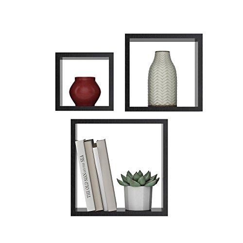 Modrine Square Shelves Set,Wall-Mounted Boxes Floating Display Shelves for DIY Home Decor,Set of 3 (Gray)