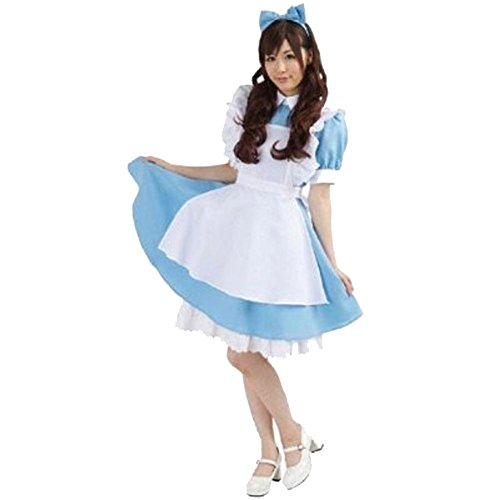 Halloween Costumes With A Blue Dress (Voglee Halloween Lolita Blue Dress Uniforms French Apron Maid Cosplay Costume for Women)
