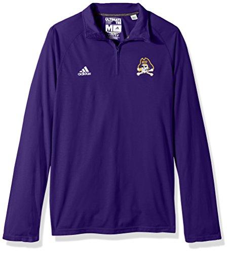 - adidas NCAA East Carolina Pirates Adult Men Sideline Basic Logo Ultimate L/S 1/4 Zip Pullover, Medium, Collegiate Purple