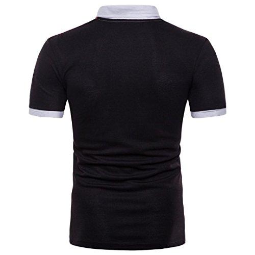 Realdo Mens Multi Color Polor Shirts, Casual Fashion Slim Skinny Button Short Sleeve Pullover Top T-Shirt(Black,XX-Large) by Realdo (Image #1)