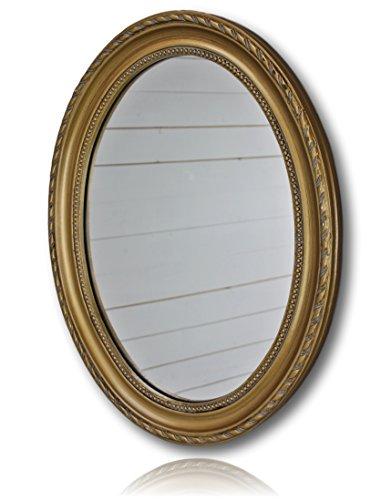 Wandspiegel oval in gold antik mit Patina 37 x 47cm | Spiegel barock aus Holz | im Landhausstil als Badspiegel | Schminkspiegel bzw. Frisierspiegel für das Landhaus