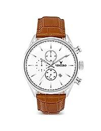 Vincero Chrono S Reloj - Banda de Cuero Italiana - Reloj 43mm Cronógrafo - Movimiento de Cuarzo Japonés (Blanco/Tan)
