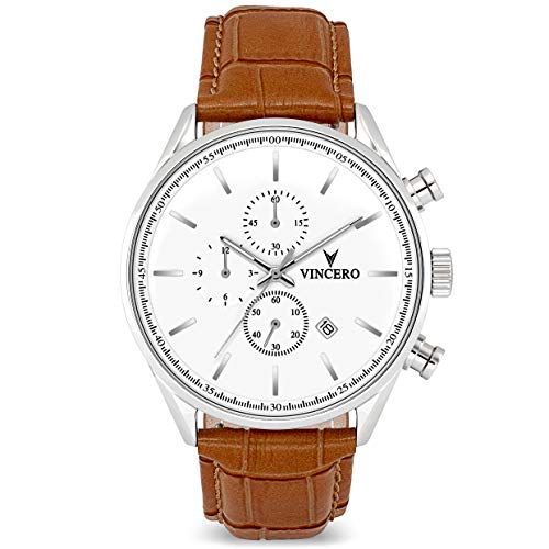(Vincero The Chrono S Dial Leather Strap Men's Watch WHI-TAN-S09 )