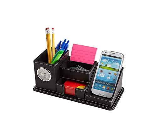 Home Décor Premium Desk Supplies Organizer with Clock 5 Compartment Faux Leather Black Storage