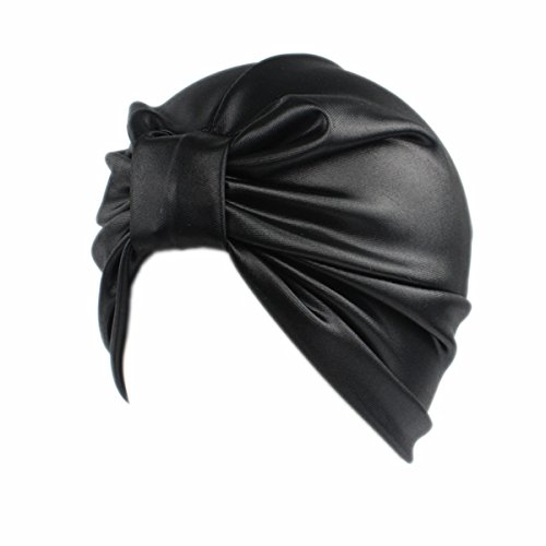 Leather Headwrap (Qhome Womens Luxury Stretchy Leather Turban Chemo Cap Headwrap)