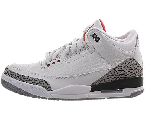 Air Jordan III (3) Retro (White / Fire Red-Cement Grey-Black) 8 D(M) US