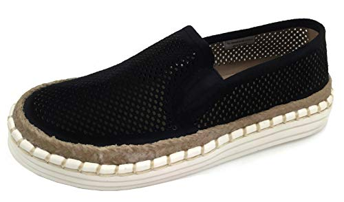 Trim Jute (Fashion Slip On Sneakers with Jute Trim and Whip Stitch Faux Suede, Black, 7.5)