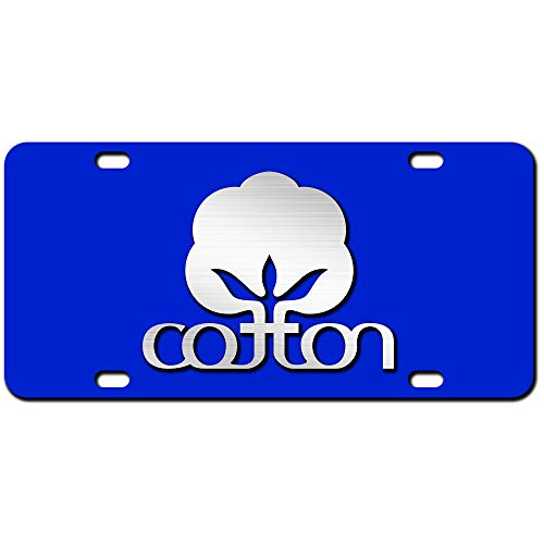 JASS GRAPHIX 2D Cotton Farmer License Plate Brushed Aluminum Heavy Duty Cotton Car Tag Made in USA - Officially Licensed - 2d Blue Plate