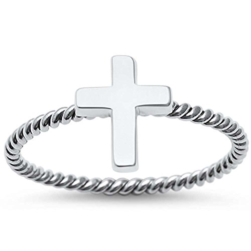Oxford Diamond Co Sterling Silver Braided Cross Ring Sizes 5 ()