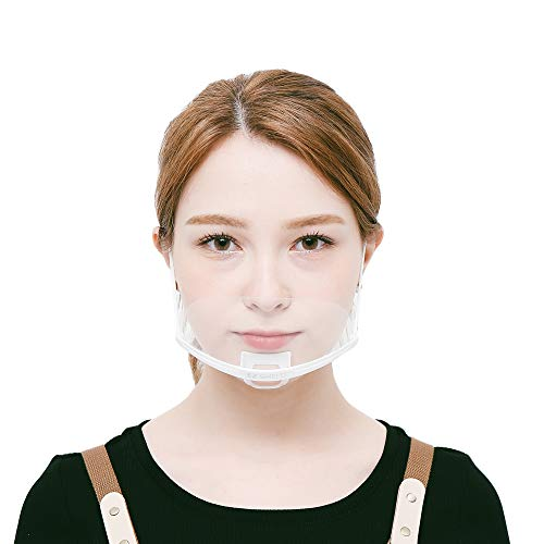 STOCK IN USA 10 Pcs Reusable Plastic Clear Face Covering Transparent mask for Restaurant, Hair Salon, Nail shop, School. White Frame(601)