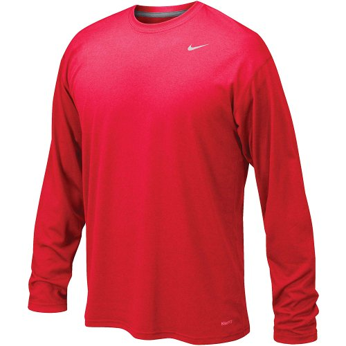 Nike Mens Legend Poly Long Sleeve Dri-Fit Training Shirt University Red/Matter Silver 384408-657 Size X-Large