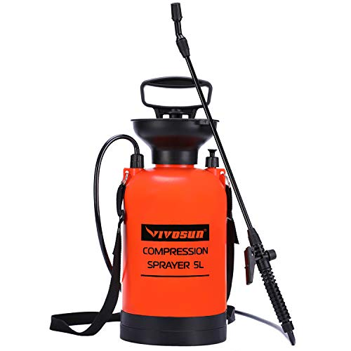VIVOSUN 1.3 Gallon Lawn and Garden Pump Pressure Sprayer with Pressure Relief Valve, Adjustable Shoulder Strap and Gloves Included