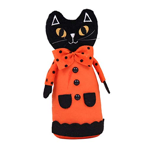 Halloween DIY Decoration Pumpkin Black Cat White Ghost Doll Props Party Gift Black L ()