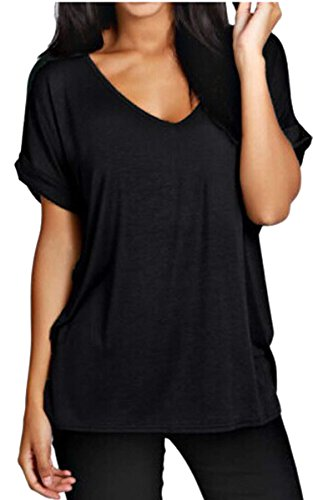 Meaneor Women Solid Comfy Loose Fit Roll Over Short Sleeve V Neck Lightweight Top Tee – X-Large, Black