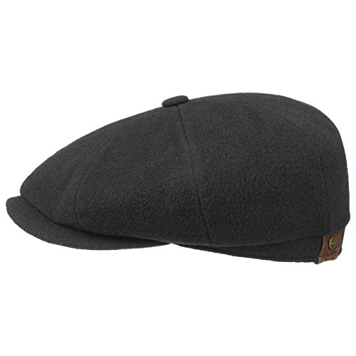 Stetson Hatteras Noir for Women and Men Flat Cap Newsboy with Peak,with Lining,with Lining Autumn Winter (62 cm - Black)