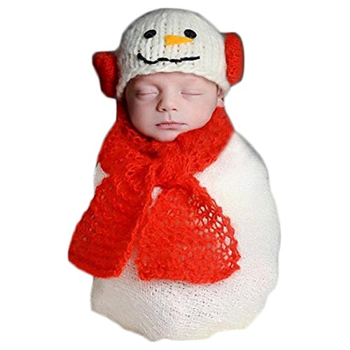 Christmas Newborn Baby Photo Prop Boy Girl Photo Shoot Outfits Crochet Knit Costume Unisex Cute Infant Snowman hat scarf -
