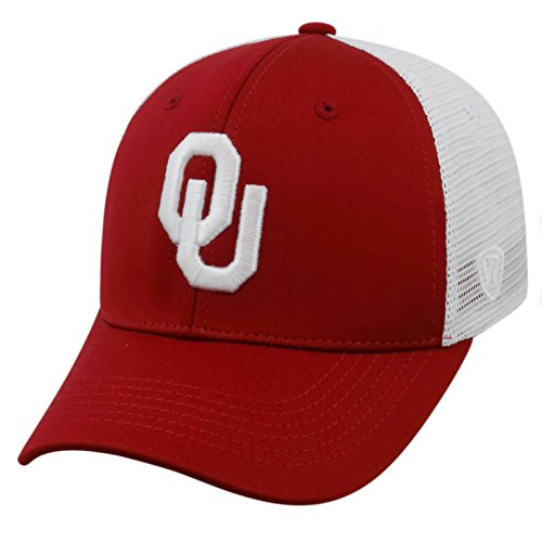 Top of the World NCAA-Ranger Trucker Mesh-Adjustable Snapback Hat Cap-Oklahoma Sooners-White