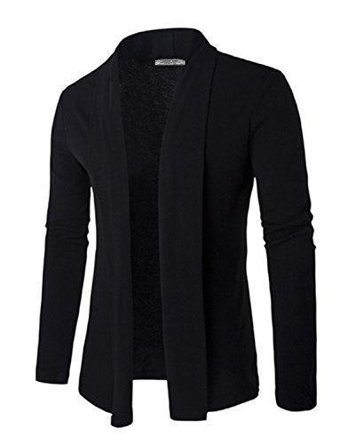 DAVID.ANN Men's Long Sleeve Draped Open Front Shawl Collar Longline Cardigan,Black,Medium by DAVID.ANN (Image #4)