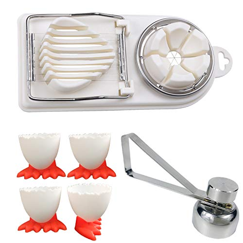 Egg Cracker Topper Set for Soft Hard Boiled Eggs Shell Removal Includes 1 Egg Cutter, 1 Egg Slicer and 4 Egg Cups.