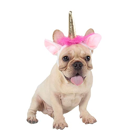 ABLAZE ZAI Pet Costume Adjustable Soft Plush White Unicorn Hat for Dog and Cat -