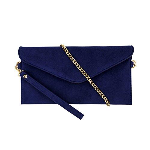 Jieway Women's Faux Suede evening Clutch bag Crossbody Bag Shoulder Handbags (Small Navy)