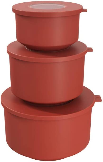 Coza- Hoop Collection- Leak Proof Food Container with Air Tight Lids Set of 3 (6 Pieces Total)- BPA Free & Microwave Safe (Guava Red)
