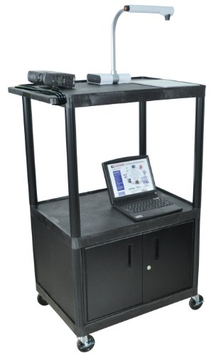 LUXOR LP54CE-B Cart with Cabinet and Electric, Black Luxor Open Shelf Table
