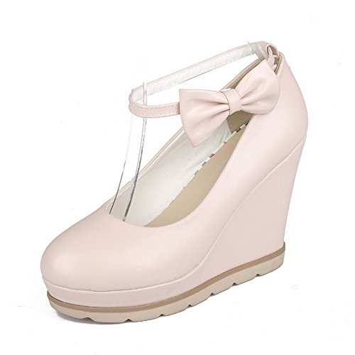 Toe with Pumps Buckle Heels and Pu Bowknot High Pink WeenFashion Round Women's OnwqXaU0n