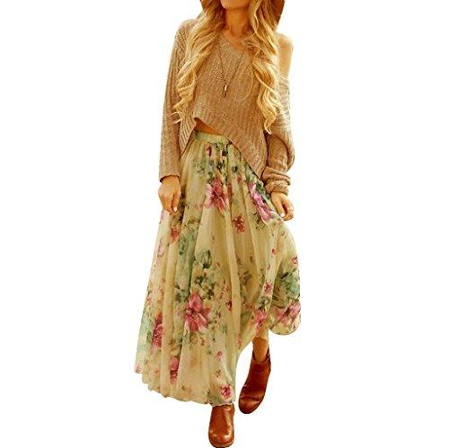 EU Boho Jupe de Maxi 38 Femmes Vovotrade Taille Longue Size Vert Robe Soie Mousseline Plisse lastique 0y7pwq4g