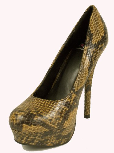Jones! By Delicious Platform Stiletto High-heel Dress Pumps, tan python, 9 M