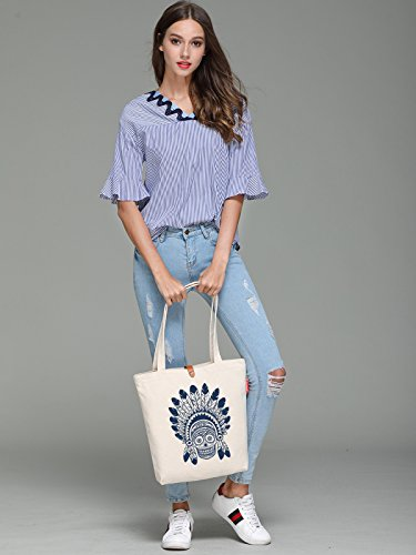 So'each Women's Indian Feather Graphic Top Handle Canvas Tote Shoulder Bag
