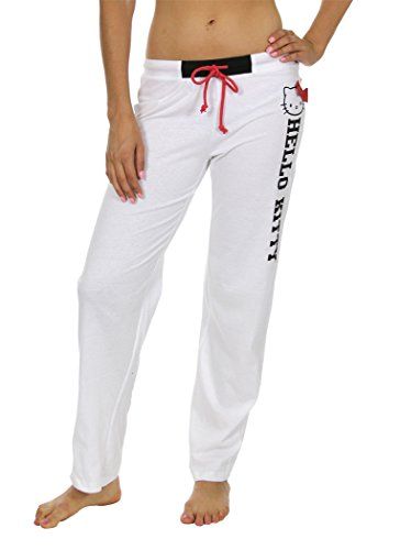 Sanrio Hello Kitty Women's Lounge Pants Sweats Pajamas White (Womens Hello Kitty Clothes)