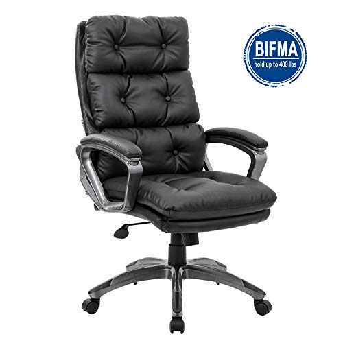 LCH High Back Office Chair, Premium Bonded Leather Executive Chair, Computer Desk Home Chair, Recline Task Chair with Curved Padded Arms, Double Padded Backrest Seat Cushion, Black