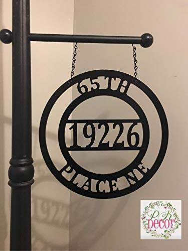 (Personalized Metal House Address Number Sign for Light Post 12