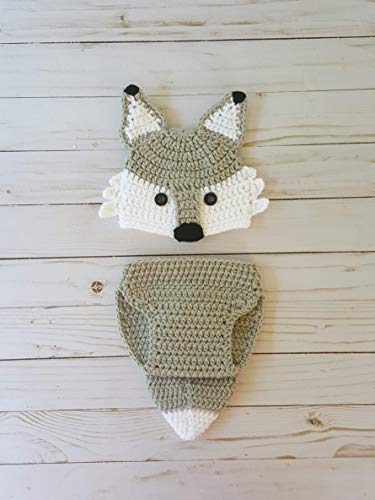 Crochet newborn wolf or fox outfit -