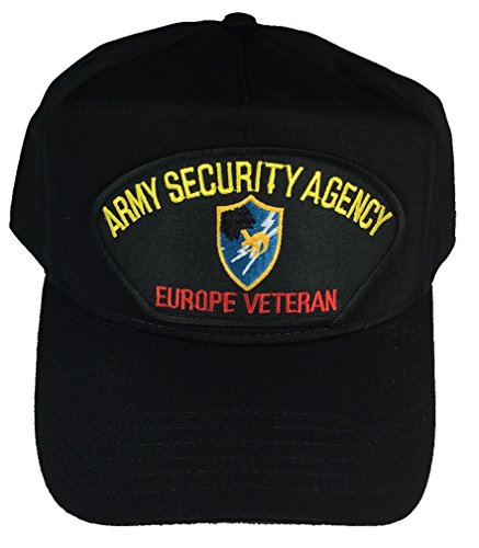 ARMY SECURITY AGENCY EUROPE VETERAN WITH CREST HAT - BLACK - Veteran Owned Business