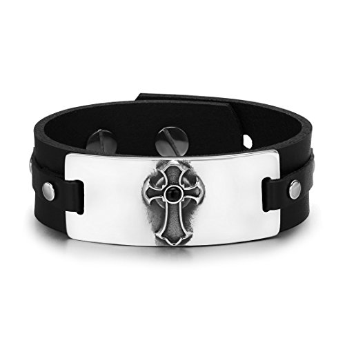 Ancient Celtic Viking Cross Protection Powers Amulet Black Simulated Onyx Adjustable Leather Bracelet