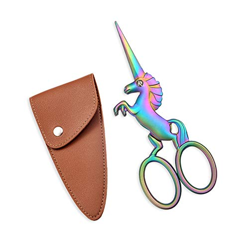 HITOPTY Unicorn Embroidery Scissors with PU Sheath, 4.5inch Stainless Steel Cute Snips for Embroidery, Sewing, Needlework, Cross-Stitch, Needlepoint (Rainbow Scissors+Sheath))