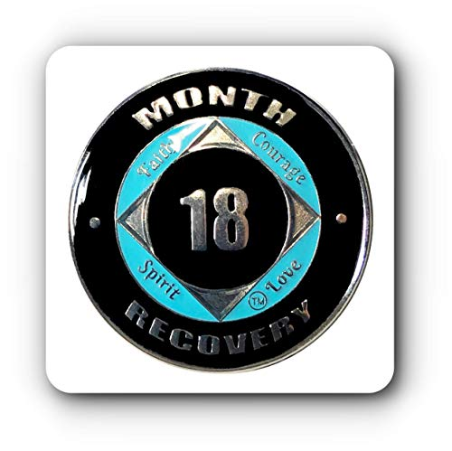 - 18 Month NA Coin Silver Color Tri-Plated Medallion, Recovery Chip, 12 Step Token, Epoxy Sealed