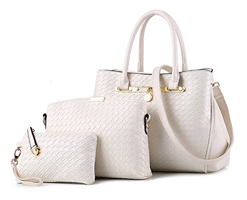 Tibes Leather Handbag Fashion Pu Shoulder Bag + Bag 3pcs + Purse White
