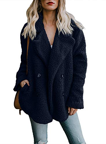 HOTAPEI Womens Coats and Jackets Cozy Warm Fuzzy Fleece Jackets Long Sleeve Loose Open Front Fur Cardigan Sweaters Outwear Pockets for Winter Navy Blue X-Large (Button Fur Jacket Front)